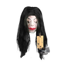 Scary Latex Long Black Hair Halloween Mask Masquerade Fancy Party Costume Props