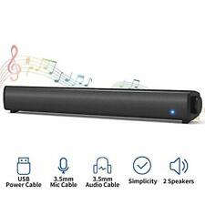 Bluetooth Computer Speaker Wired Sound Bar for PC Stereo USB Powered Mini Com...