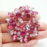 Gold-Tone Pink Flower Woman Brooch Pin Rhinestone Crystal Wreath Pendant
