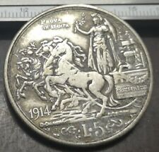 1914 Italy 5 Lire - Vittorio Emanuele III Silver Plated Coin Old Money Coinage