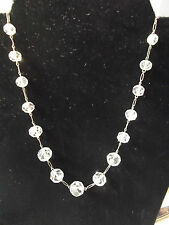 Cut Crystal Beads on Sterling Silver Chain Necklace 20s-50s