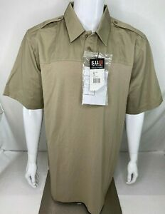 5.11 Tactical Men's XL Tall Rapid PDU Short Sleeve Shirt 71332 Silver Tan E1