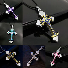 Fashion Unisex Gothic Stainless Steel Cross Charm Pendant Necklace Leather Chain