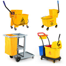 20L 36L Commercial Wet Mop Bucket Wringer Housekeeping Cleaning Trolley Cart
