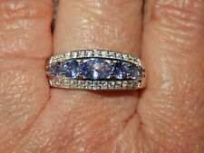 TANZANITE & NATURAL WHITE CAMBODIAN ZIRCON RING-SIZE O-1.650CTS