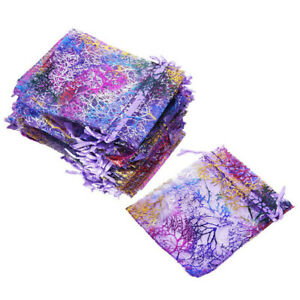25/50/100 Sheer Coralline Organza Favor Gift Bags Jewelry Pouches Wedding Party