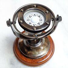 Brass Gimble Compass Nautical Marine Gift Wooden Base