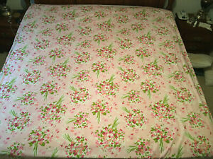 Vintage Burlington House No Iron Percale Full/Queen Flat Sheet Pink Floral