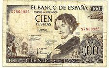 BILLETE DE 100 PESETAS DE 1965 (BC-) GUSTAVO ADOLFO BECQUER (SERIE S)