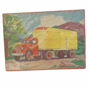 Milton Bradley Vintage Puzzle Semi-Truck 1955 Aptitude Tested Puzzle 15 Pieces