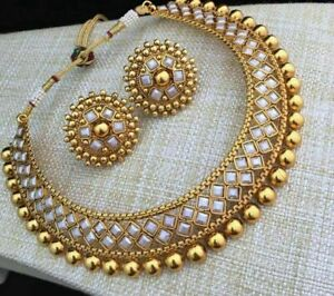 Indian Bollywood Fashion Chokar Necklace Gold White Bridal Earrings Jewelry Set