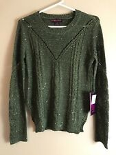 Rock and Roll Cowgirl Women's Sequin Crew Neck Olive Sweater Size Small New