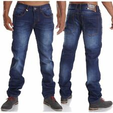 Indigo -/dark-washed Herren-Straight-Cut-Jeans L34 niedriger Bundhöhe (en)