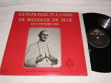 LE PAPE PAUL VI A L'ONU Le Message de Paix LP Pope Paul VI French Roman Catholic