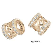 1PC Rose Gold Plated Sterling Silver CZ Tube European Charm Bead 7mm #97711