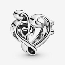 Music Love Heart Charm Note Pandora Genuine S925 Sterling Silver Treble Clef