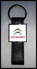 Porte-clés Acier/Simili Cuir logo CITROËN (Fond Blanc)