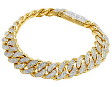 "Men's 10K Yellow Gold Genuine Diamond 13 MM Miami Cuban Link Bracelet 4 CT 8.5"""