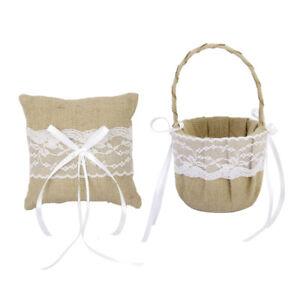Vintage Jute Burlap Lace Flower Girl Basket   Pillow Wedding Decor