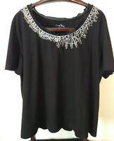 Coral Bay Women's Top Short Sleeved Embellish Neck Black Size 3X