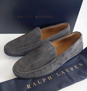 🆕️ RALPH LAUREN PURPLE LABEL RONAN Calf Suede DRIVING Loafer Shoes US-10D EU-43