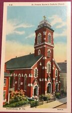 Vintage Antique Post Card, Parkersburg, Wv, St Francis Xavier's Catholic Church