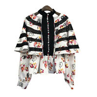 2019FW Womens Designer Inspired  Floral Cape Style Lace Loose Fit Shirt Top
