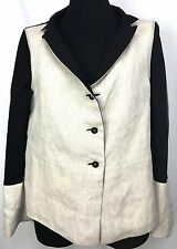 NEW Annette Görtz 40 12 US Reversible Black Beige Wool Linen Jacket Blazer D