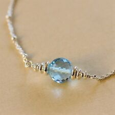 Sky Baby Blue Topaz Round Bead .925 Sterling Silver Chain Necklace U&C Sundance