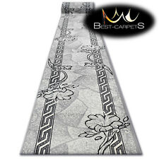 Modern Hall Carpet Runner BCF BASE grey FLORAL Stairs 60-150cm extra long RUGS
