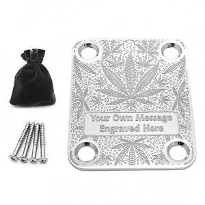 Personalised Engraved Custom Guitar Neck Plate Standard Size Cannabis Weed Leaf