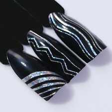 Holographics Nail 3D Nail Stickers Foils Laser Wave Line Stripe Tape Decals Tips