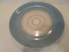 Syracuse China Dinner Plate 4-LL Aqua Gold on Off-White Mid-Century Retro Atomic