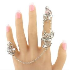 Silver Rhinestone Leaf Feather Slave Chain Link Flexible Rings Joint Fingers S9