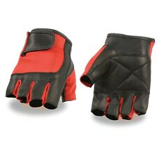 Milwaukee Leather Unisex-Adult Fingerless Glove Black/Red **SH221