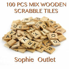 100 Mix Wooden Scrabble Tiles Letters Craft Alphabet Board Game Fun Toy Gift