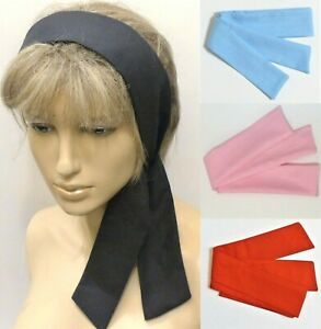 NEW RETRO 60s STYLE BLACK RED BLUE PINK COTTON SELF TIE BOW SCARF HEAD HAIR BAND