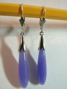 Lavender Jade Long Teardrop Drop Dangle Leverback Earrings 925 Sterling Silver