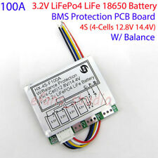 4S 100A w/Balance 3.2V LiFePo4 18650 Battery Pack BMS Protection PCB Board 14.4V