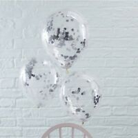 SILVER CONFETTI FILLED BALLOONS - Venue Deco,Wedding,Baby Shower,Hen Night,Party