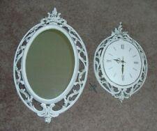 Vtg Syroco Hollywood Regency Art Nouveau Pair-White Gold Key Wind Clock & Mirror