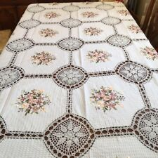 "VINTAGE Cotton Crochet  Table cloth 70"" x 108"" white   100 % Cotton"