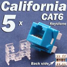 5 Pcs Lot CAT6 Keystone 8P8C RJ45 Network 110 Style Socket Punch Down Jack Blue