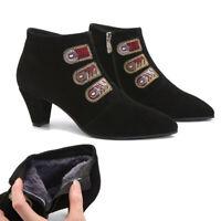 NOCK UGG Embroidery Boots Ladies Women Slip On Heels Australian Wool Lining