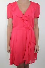 BNWOT ASOS fluro coral pink silk feel ruffle trim empire tea dress size 12 eu 40