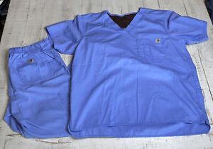 Carhartt Men's Ripstop Scrub Set Blue Size Medium Top And Bottom Medical C54108