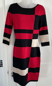 Phase Eight UK 10 Black Red Colour Block Mondrian Knitted Jumper Dress Tunic VGC
