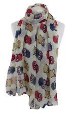 Cream baby Owl Print Scarf Shawl Stole Wrap Hijab 100% Viscose