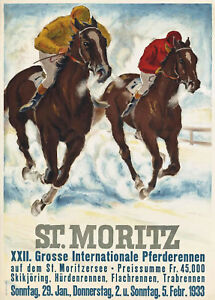 22nd Big International Horse Racing St Moritz 1933 Poster 13 x 19 Giclee print