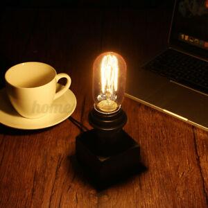 Retro Industrial Wood Block Base Table Lamp Desk Room Bedside Light Decor 110V